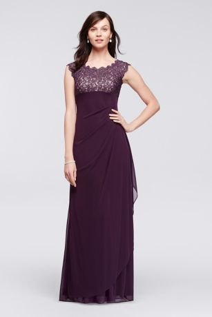 Lace Bodice Long Mesh Dress with Cap Sleeves