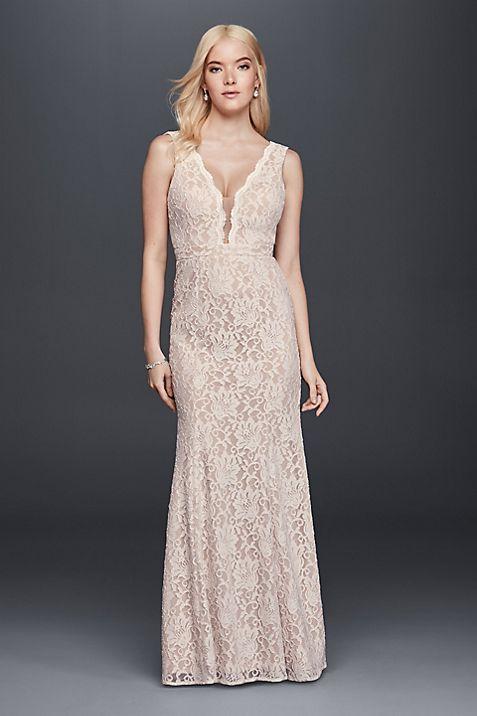 Lace Sheath Wedding Dress with Plunging V-Neckline | David\'s Bridal