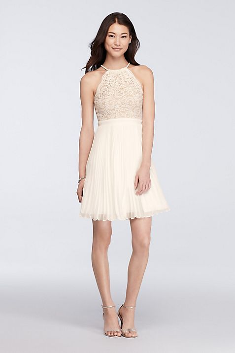 Short Lace Halter Dress with Pleated Skirt | David\'s Bridal