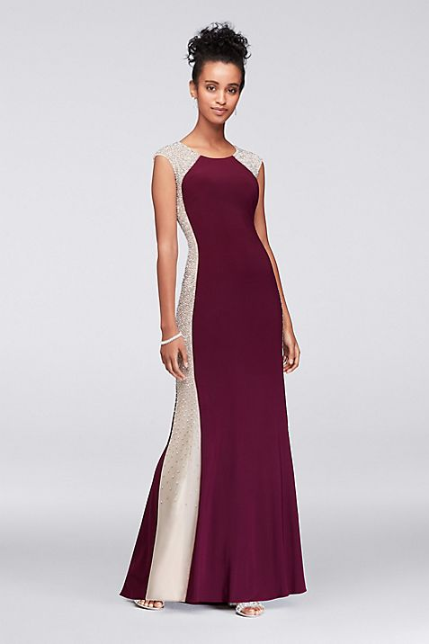 Beaded Illusion Matte Jersey Gown | David\'s Bridal