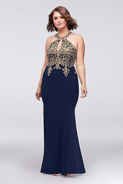 Sheath Plus Size Dress with Metallic Embroidery | David\'s Bridal