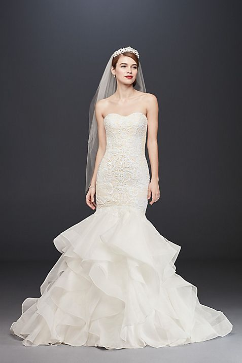 Lace Trumpet Wedding Dress with Organza Skirt   David\'s Bridal