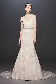 Long Mermaid/ Trumpet Modern Wedding Dress - Oleg Cassini