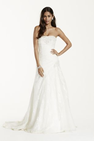 Petite Lace A-line Gown with Side Split