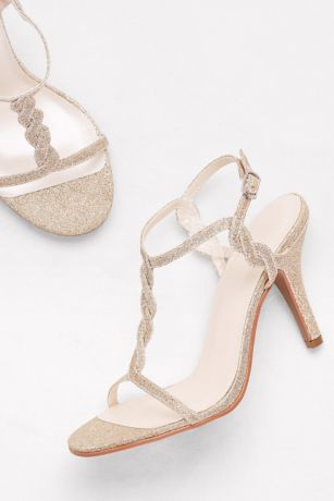 David's Bridal Grey;Yellow Heeled Sandals (Glitter Braided T-Strap Heels)