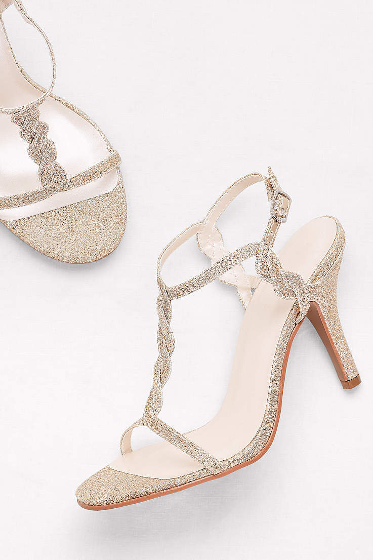 David s Bridal Grey Yellow Heeled Sandals (Glitter Braided T-Strap Heels) 5555d02263