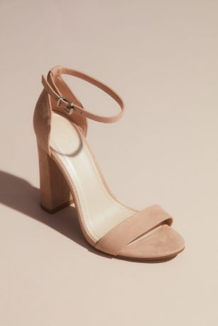 David's Bridal Beige;Grey;Ivory;Pink Heeled Sandals (Metallic Block Heel Sandals with Ankle Strap)