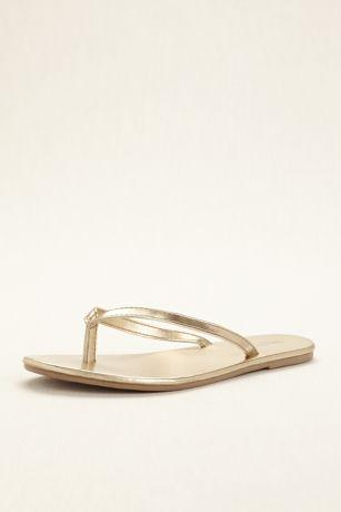 David's Bridal Grey;Yellow Flip Flops (Zoey Wedding Flip Flop)