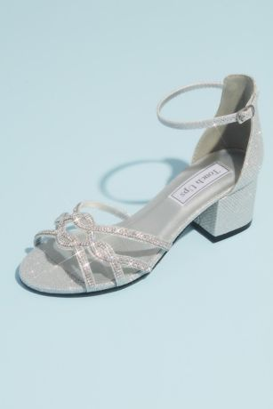 Touch Ups Grey;Ivory Sandals (Shimmery Block Heel Sandals with Strappy Vamp)