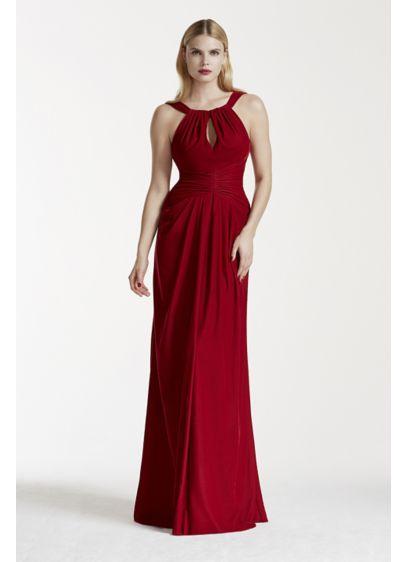 Velvet Keyhole Halter Dress with Fishtail Back | David\'s Bridal