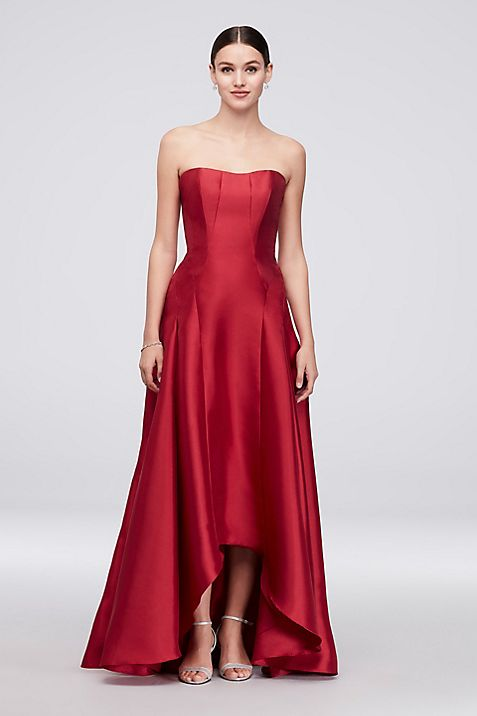 Strapless Mikado High-Low Ball Gown | David\'s Bridal