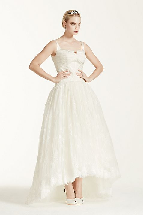 Truly Zac Posen Lace High Low Tank Wedding Dress