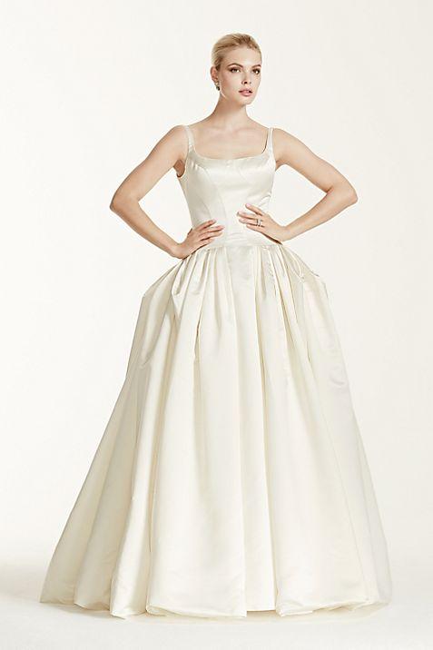 Truly Zac Posen Satin Wedding Dress with Pleating | David\'s Bridal