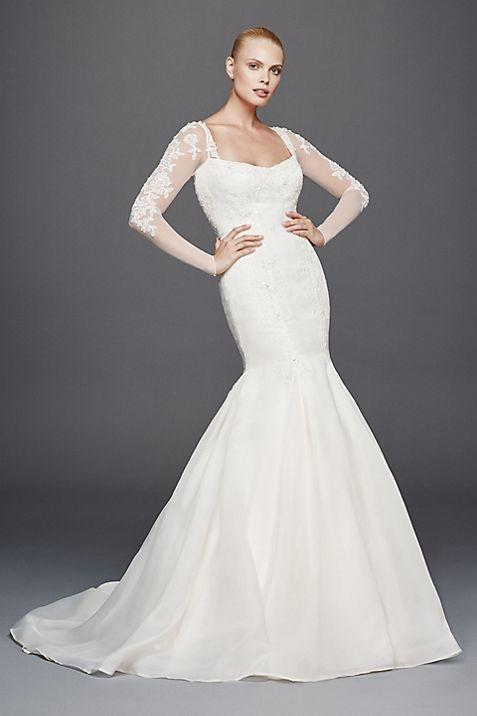 Truly Zac Posen Long Illusion Sleeve Wedding Dress | David\'s Bridal