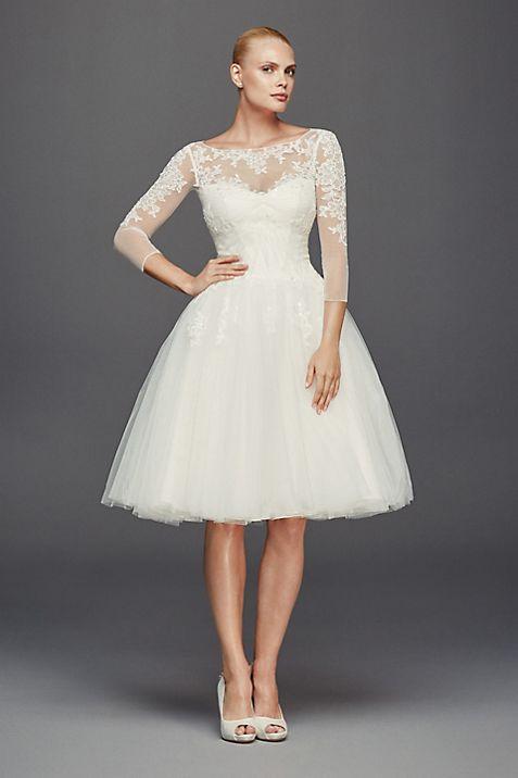 Truly Zac Posen 3/4 Sleeve Short Wedding Dress   David\'s Bridal