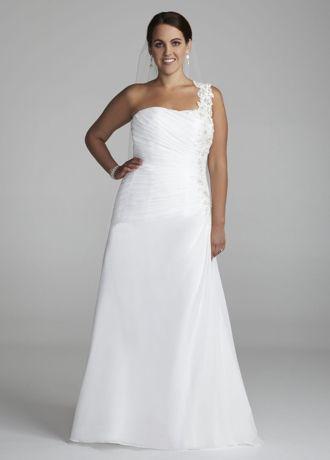 One Shoulder Chiffon Floral Applique Plus Gown