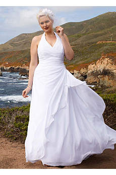 Chiffon Halter Soft Gown with Side Drape