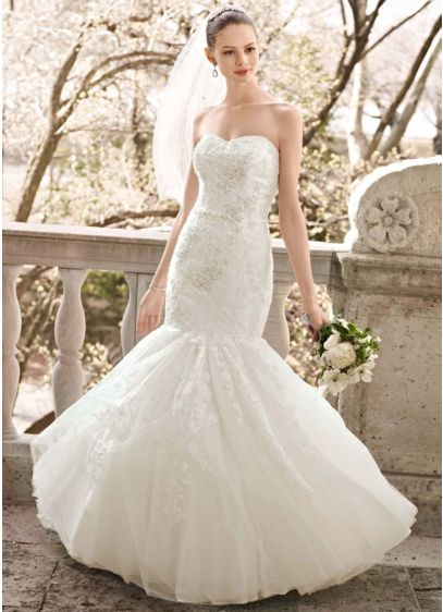 Beaded Layered Lace Fit and Flare Gown | David\'s Bridal