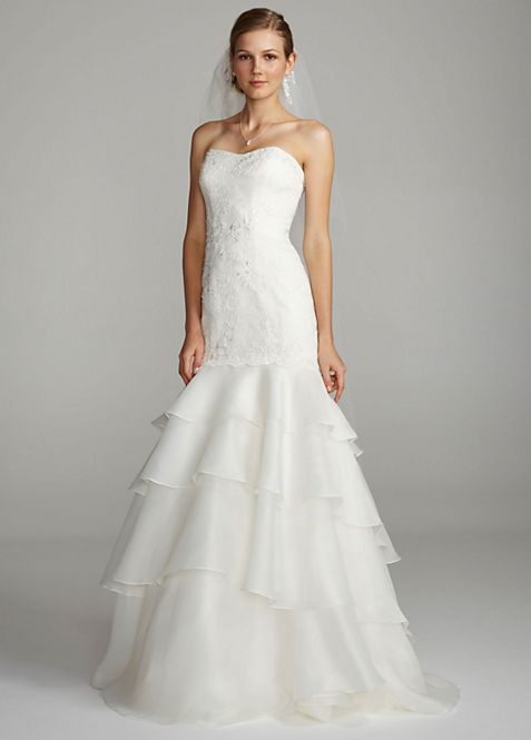 Melissa Sweet Floral Lace Trumpet Wedding Dress   David\'s Bridal