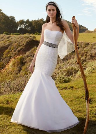 Strapless Organza Fitted Gown with Draped Bodice