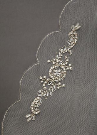 Beaded and Crystal Motif Scalloped Edge Veil