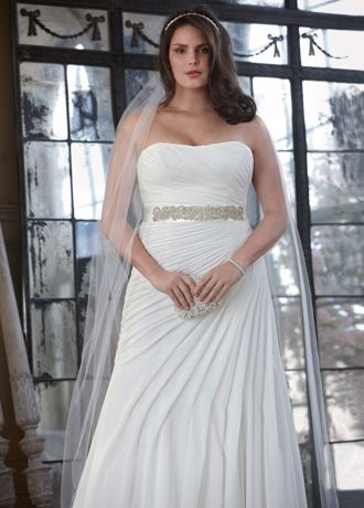 Crinkle Chiffon Gown with Asymmetrical Draping