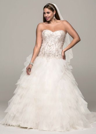 Strapless Tulle Ball Gown with Ruffled Skirt