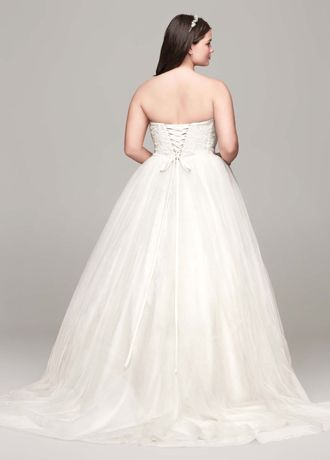 soft tulle lace corset plus size wedding dress  david's