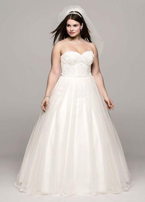 Soft Tulle Lace Corset Plus Size Wedding Dress | David\'s Bridal