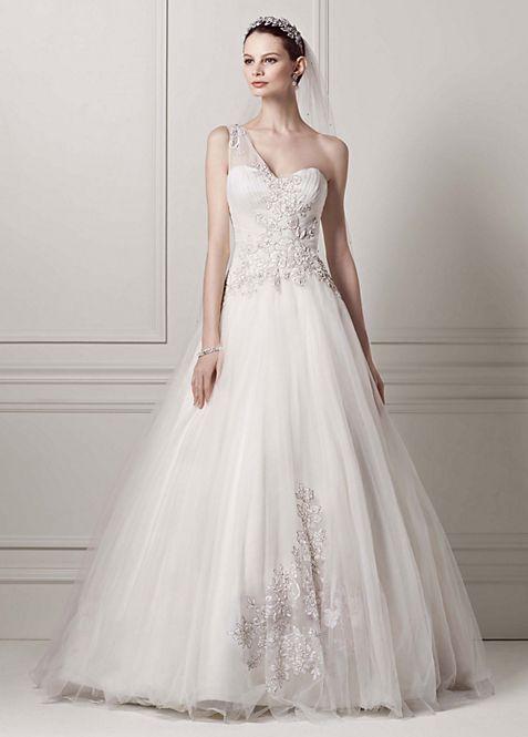 Oleg Cassini One Shoulder Tulle Wedding Dress   David\'s Bridal