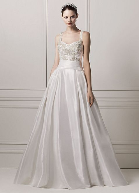 Oleg Cassini Sleeveless Tank Ball Wedding Dress | David\'s Bridal