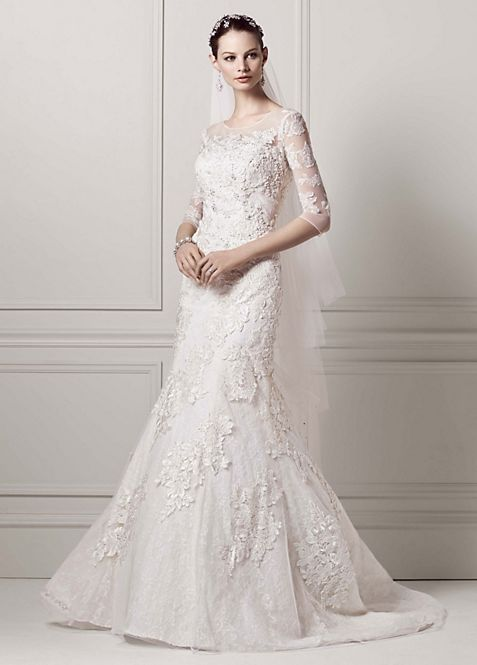 3/4 Sleeve Lace Trumpet Gown | David\'s Bridal