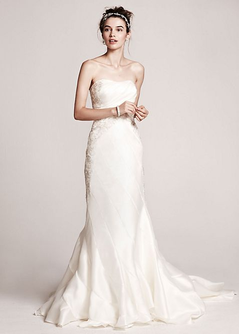 As-Is Strapless Mikado Mermaid Gown | David\'s Bridal