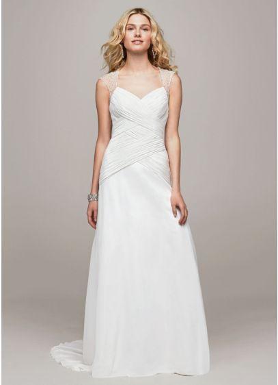 A-Line Wedding Dress with Beaded Cap Sleeve Detail | David\'s Bridal