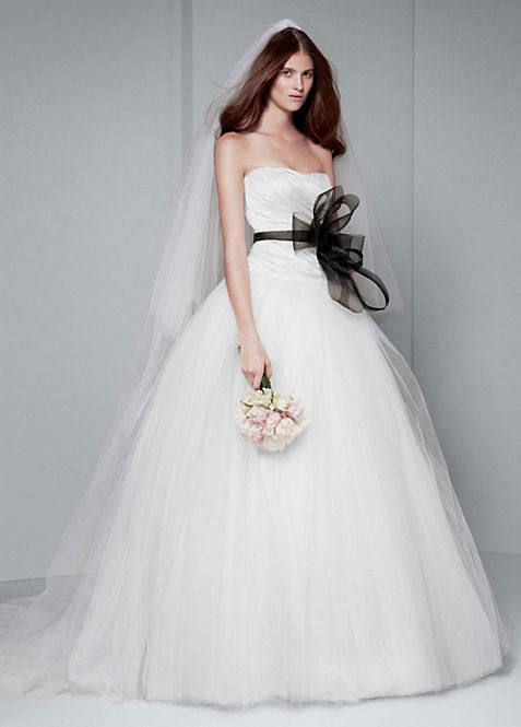 White by Vera Wang Draped Taffeta Wedding Dress | David\'s Bridal