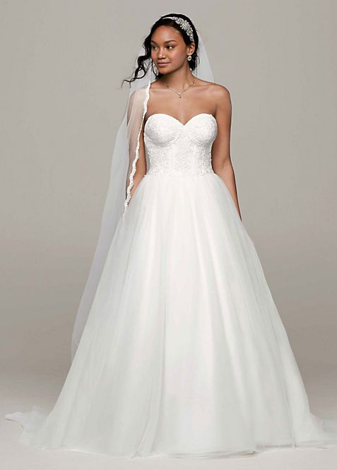 Ball Gown with Lace Corset Bodice | David\'s Bridal