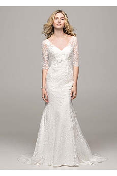 3/4 Sleeve All Over Lace Trumpet Gown