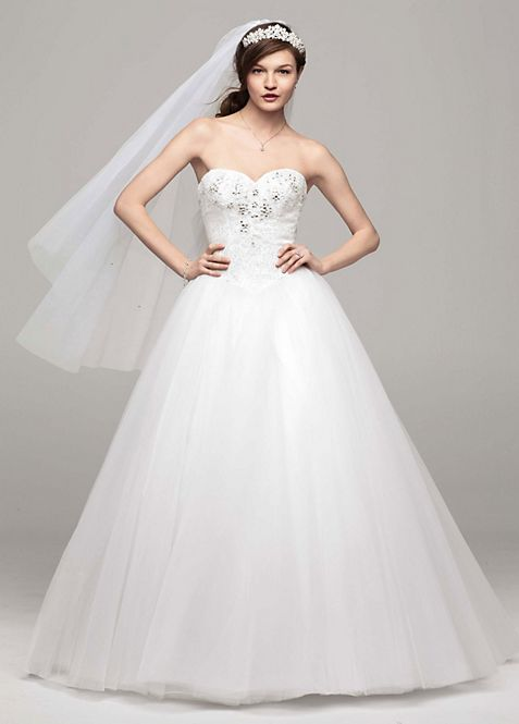 Strapless Tulle Ball Gown with Beaded Bodice | David\'s Bridal