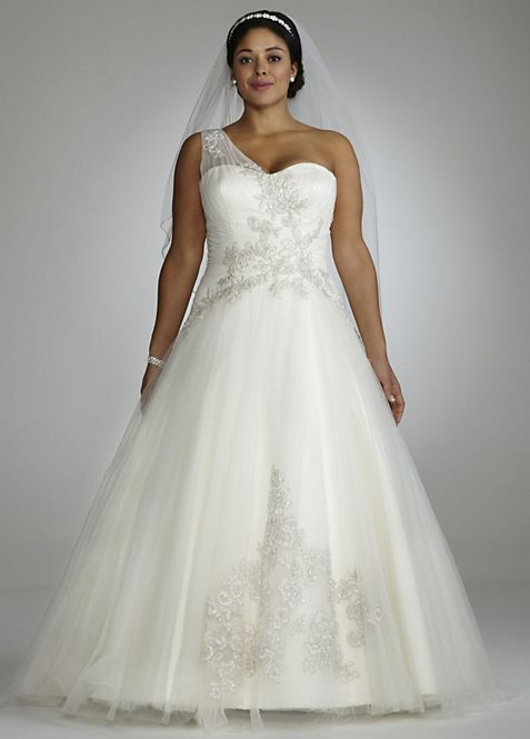 One Shoulder Tulle Ball Gown with Lace Appliques   David\'s Bridal