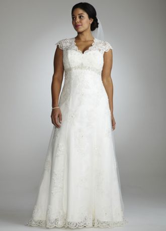 Cap Sleeve Lace Over Satin Gown with Illusion