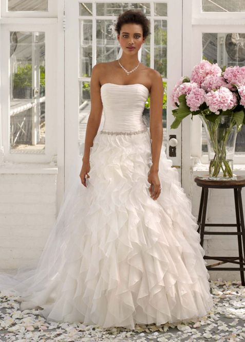 Strapless Organza Ball Gown with Ruffle Detail | David\'s Bridal
