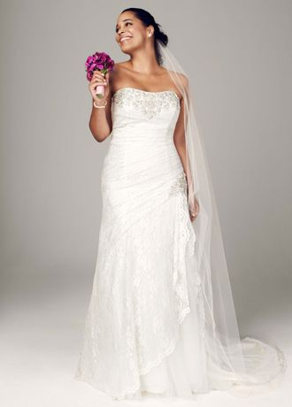 As Is Strapless Lace A-line Plus Gown with Split