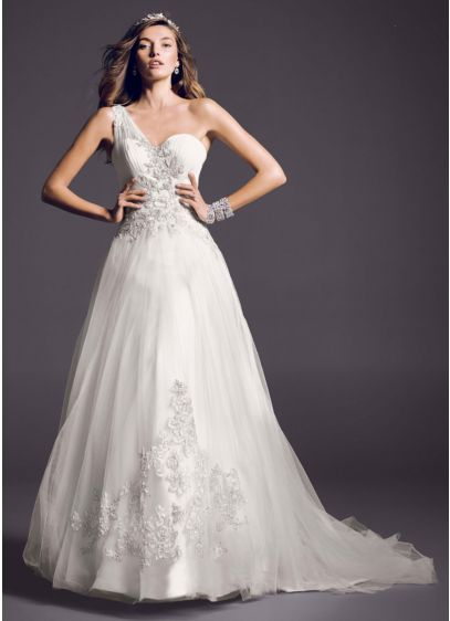 One Shoulder Tulle Ball Gown with Lace Appliques | David\'s Bridal