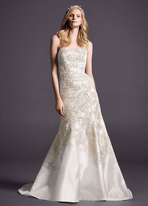 As-Is Mikado Wedding Dress with Lace Applique | David\'s Bridal