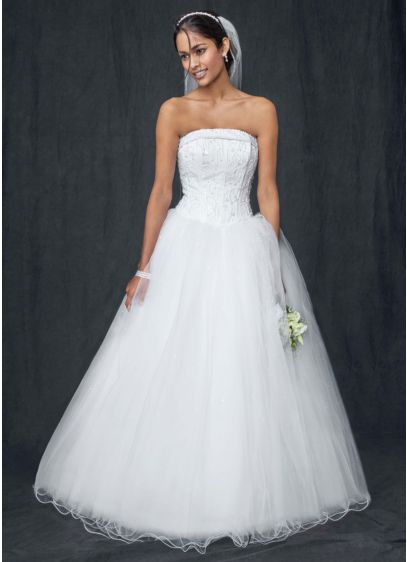 Strapless Tulle Ball Gown with Beaded Satin Bodice | David\'s Bridal