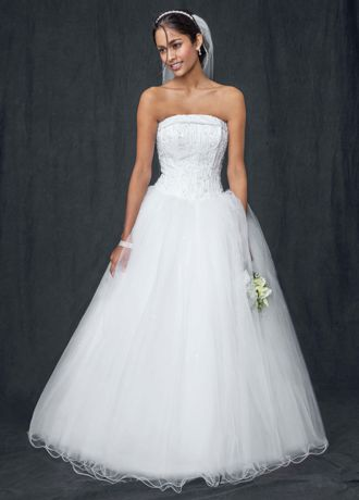 Strapless Tulle Ball Gown with Beaded Satin Bodice