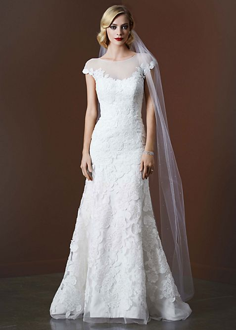 Tulle Trumpet Wedding Gown with Illusion Neckline | David\'s Bridal