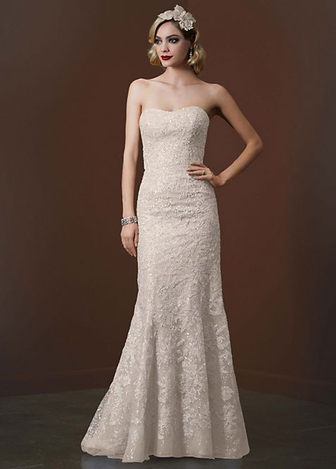 Mermaid Wedding Gown with Silver Lace | David\'s Bridal