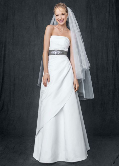Satin A-line with Asymmetrical Skirt | David\'s Bridal