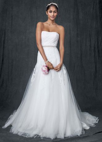 Strapless Tulle A-line Gown with Beaded Appliques